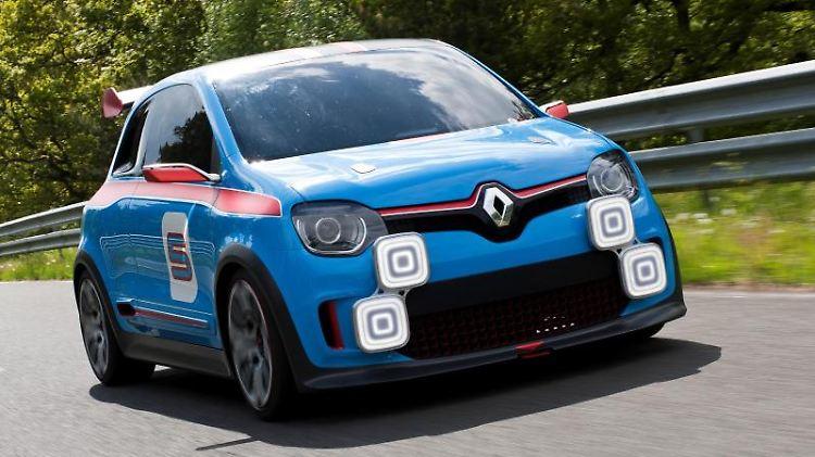 Spaßmobil und Botschafter:Mit dem 235 kW/320 PS starken Showcar Twin'Run lenkt Renault schon mal vorsichtig den Blick in Richtung neuer Twingo-Generation, die für 2014 erwartet wird. Foto: Renault