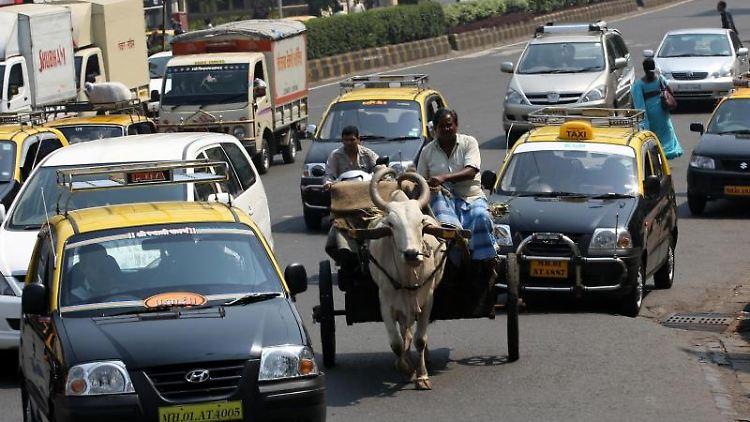 Ein Fall für die Hupe:Ein Ochsenkarren ist auf einer indischen Straße unterwegs. Foto: Christian Charisius