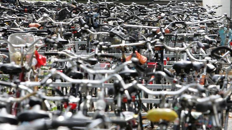 Gebrauchte Fahrräder gelangen nicht immer auf ehrliche Weise in den Handel. Manchmal stammen sie von Fahrradparkplätzen wie diesen in Münster. Foto: Friso Gentsch