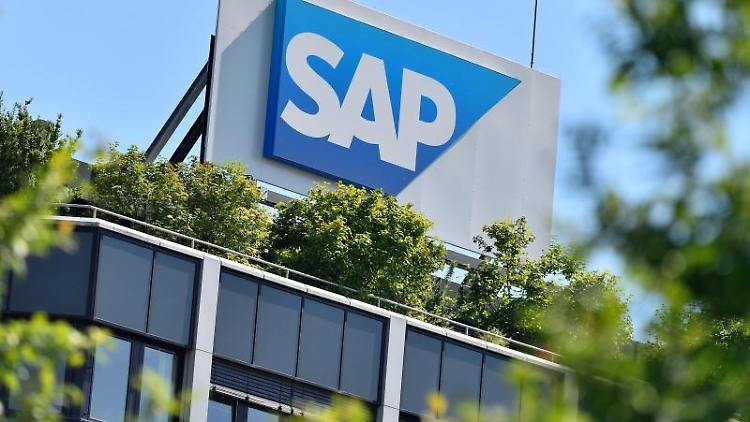 Das Logo des Softwarekonzerns SAP in Walldorf. Foto: Uwe Anspach