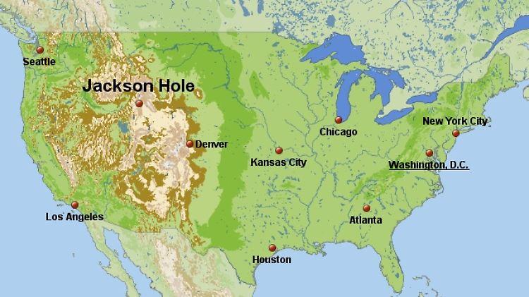 Die Lage von Jackson Hole: Abgelegener Tagungsort im Hinterland der USA.