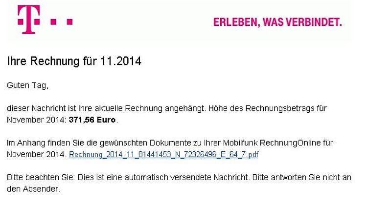Banking Trojaner Im Gepäck Telekom Warnt Vor Falschen Rechnungen