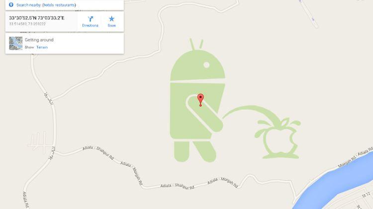 Albernes Easter Egg in Google Maps: Android pinkelt auf Apple-Logo on