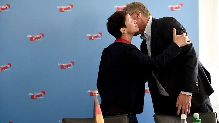 Frauke Petry und Jörg Meuthen, die Sprecher des AfD-Bundesvorstands, begrüßen sich in Berlin vor Beginn der Tagung.