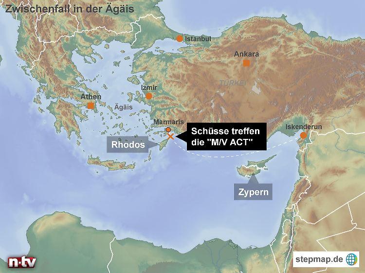 Türkische ägäis Karte.Eskalation Im Mittelmeer Griechen Feuern Auf Türkischen Frachter