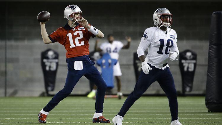 Die New England Patriots bei einer Trainigseinheit vor dem Super Bowl.