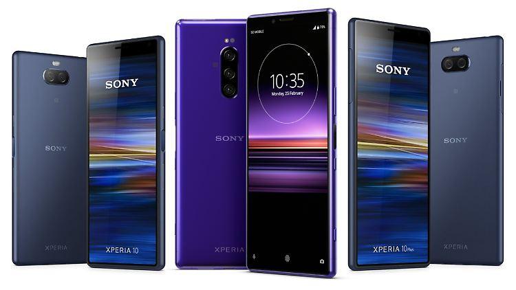 Von links nach rechts: Das Sony Xperia 10, das Xperia 1 und das Xperia 10 Plus.