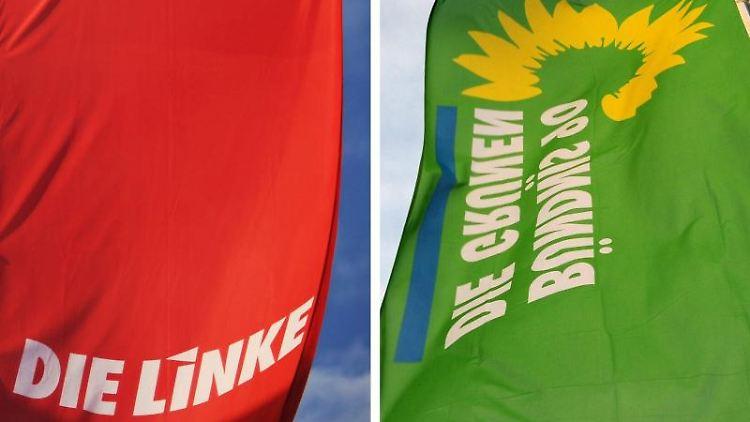 Fahnen der Parteien Die Linke (l) und Bündnis 90/Die Grünen wehen im Wind. Foto: Julian Stratenschulte/Archiv