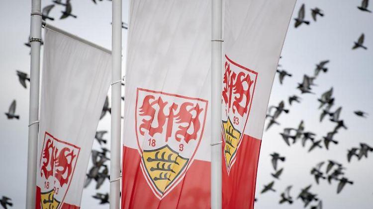 Flaggen mit dem Logo des Fußball-Bundesligisten VfB Stuttgart wehen im Wind. Foto: Fabian Sommer/Archiv