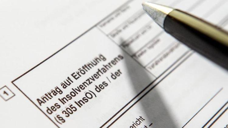 Ein Kugelschreiber zeigt auf einen Antrag zur Eröffnung eines Insolvenzverfahrens. Foto:Alexander Heinl/Archiv