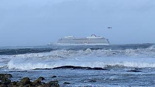 """Havarierte """"Viking Sky"""" vor der norwegischen Küste."""