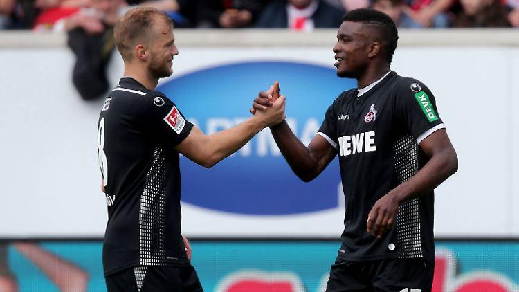 Johannes Geis (l.) und Jhon Cordoba dürfen spätestens seit dem souveränen Sieg des 1.FC Köln in Heidenheim für die erste Bundesliga planen.