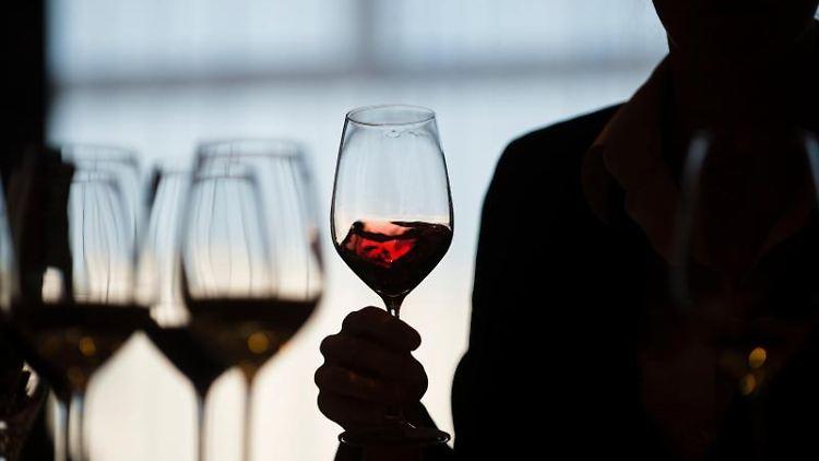 Eine Frau schwenkt während einer Weinverkostung ein Glas Rotwein. Foto: Gregor Fischer/Archivbild