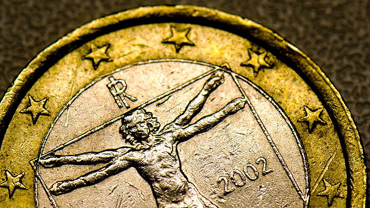 vitruvianischen Menschen auf Italiens Euro-Münze.jpg