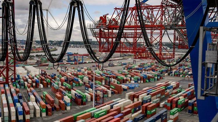Container liegen zur Abfertigung am Containerterminal im Hamburger Hafen. Foto: Axel Heimken/dpa/Archiv