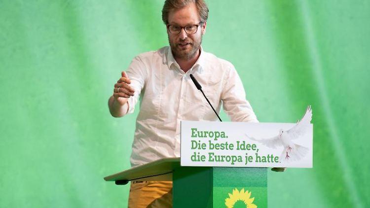 Anjes Tjarks spricht auf der Landesmitgliederversammlung der Grünen in Hamburg. Foto: Daniel Reinhardt