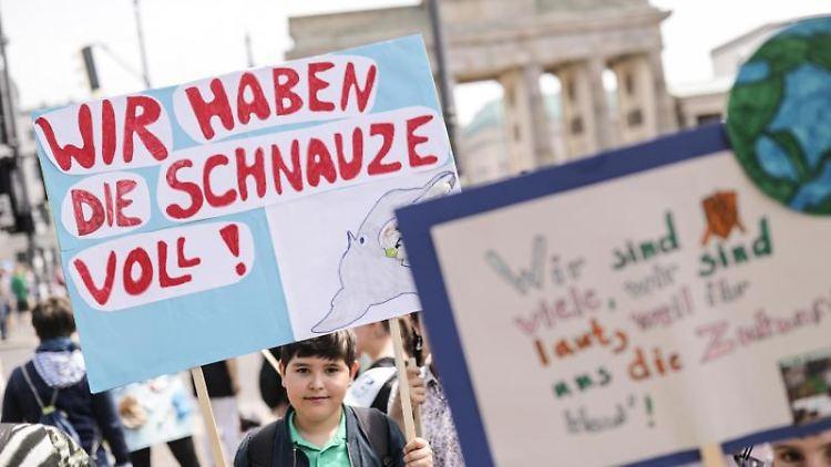Schülerinnen und Schüler demonstrieren mit Protestplakaten vor dem Brandenburger Tor für eine bessere Klimapolitik.Foto:Kay Nietfeld