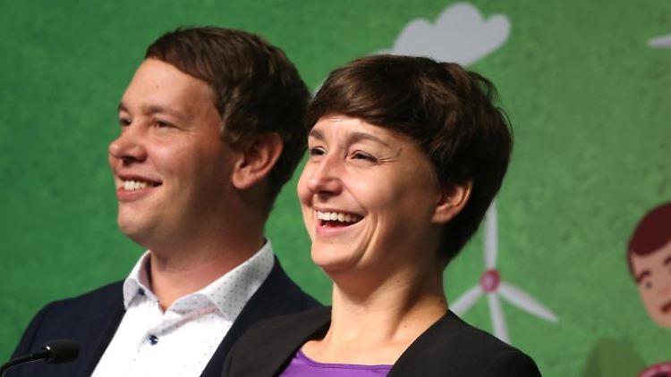 Oliver Hildenbrand und Sandra Detzer, die Landesvorsitzenden der Grünen in Baden-Württemberg. Foto: Karl-Josef Hildenbrand/Archivbild