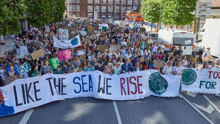 Teilnehmer der Klima-Demonstration Fridays for Future halten auf der Dammtorstraße Transparente. Foto:Georg Wendt