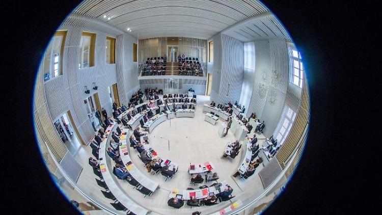 Blick in den Landtag Mecklenburg-Vorpommern. Foto: Jens Büttner/Archivbild