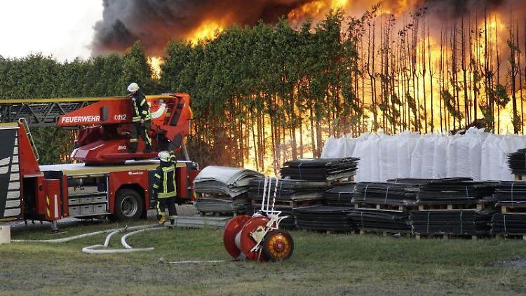 Feuerwehrleute vor dem Brand. Foto: -/Nord-West-Media TV