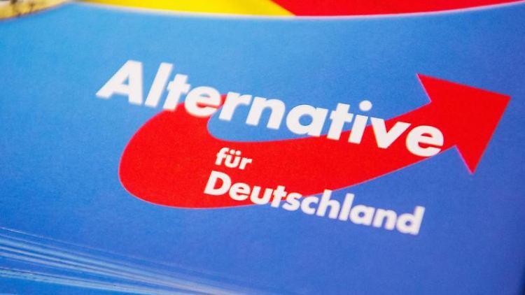 Das Logo der AfD ist auf einem Flyer zu sehen. Foto: Christophe Gateau/Archivbild
