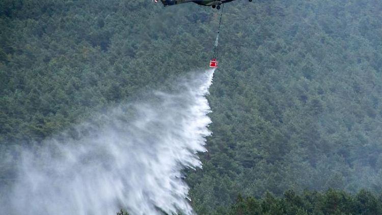 Ein Hubschrauber der Bundeswehr wirft im Wald Löschwasser ab. Foto: Jens Büttner/Archivbild