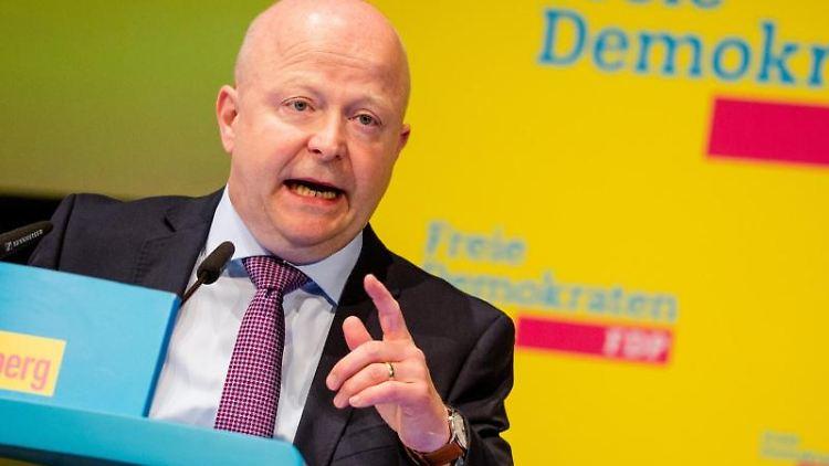 Michael Theurer, Landesvorsitzender der FDP Baden-Württemberg, beim Landesparteitag der FDP Baden-Württemberg. Foto: Christoph Schmidt