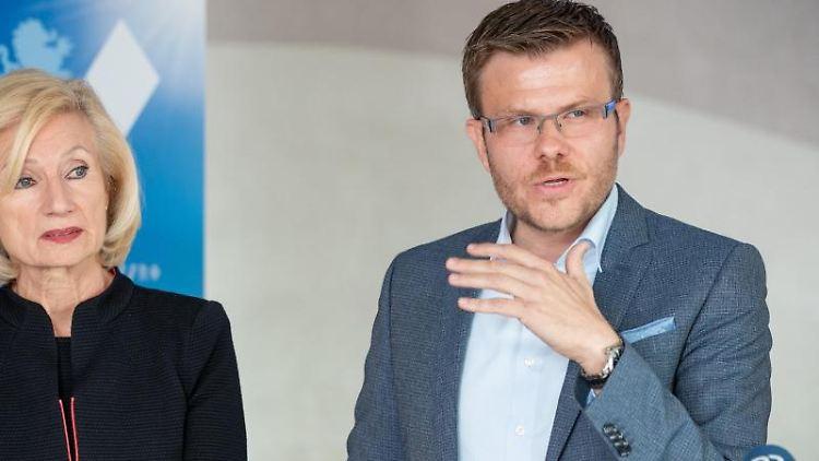 Der Spitzenkandidat für die Nürnberger OB-Wahl, Marcus König, und die Kulturreferentin Julia Lehner (beide CSU).Foto:DanielKarmann/Archiv