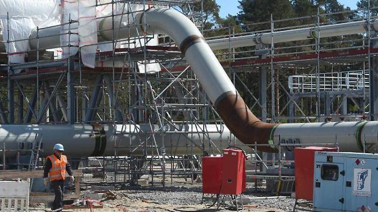 Blick auf die Baustelle der Empfangsstation der Ostseepipeline