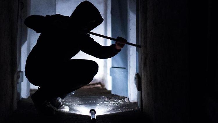 Ein fiktiver Einbrecher hebelt mit einem Brecheisen eine Tür im Keller eines Wohnhauses auf. Foto: Silas Stein/Archivbild
