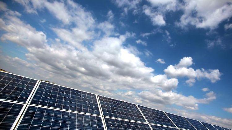 Solarmodule vor blauem Himmel. Foto:Oliver Berg/Archiv