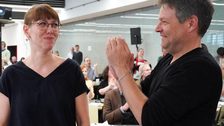 Katja Meier und Robert Habeck. Foto: Peter Endig/Archivbild