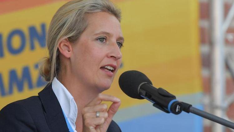 Alice Weidel, Vorsitzende der AfD-Bundestagsfraktion, spricht auf einer AfD-Wahlkampfveranstaltung in Peitz. Foto: Patrick Pleul