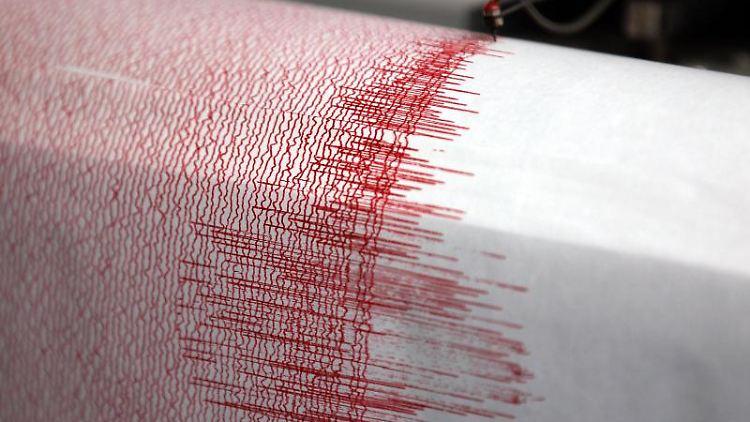 Ein Seismograph verzeichnet Ausschläge. Foto: Oliver Berg/Archivbild