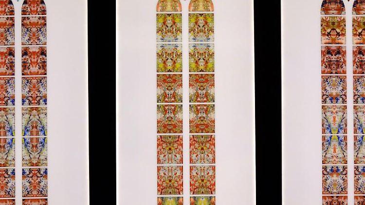 Die Fenster-Entwürfe des weltweit berühmten Künstlers Gerhard Richter für das Benediktinerkloster. Foto:Harald Tittel