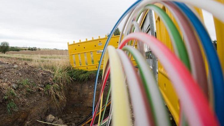 Leerrohre für Glasfaserleitungen für schnelles Internet liegen an einer Landstraße in der Baugrube. Foto: Julian Stratenschulte