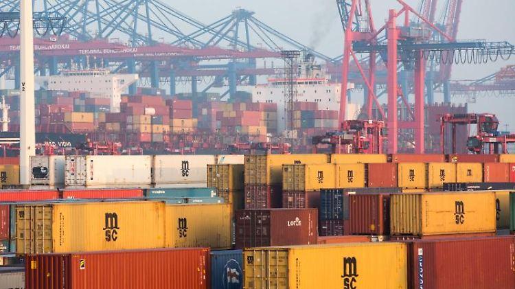 Container sind auf dem Gelände des Logistikunternehmens Eurokombi im Hafen von Hamburg zu sehen. Foto: Christian Charisius/Archiv