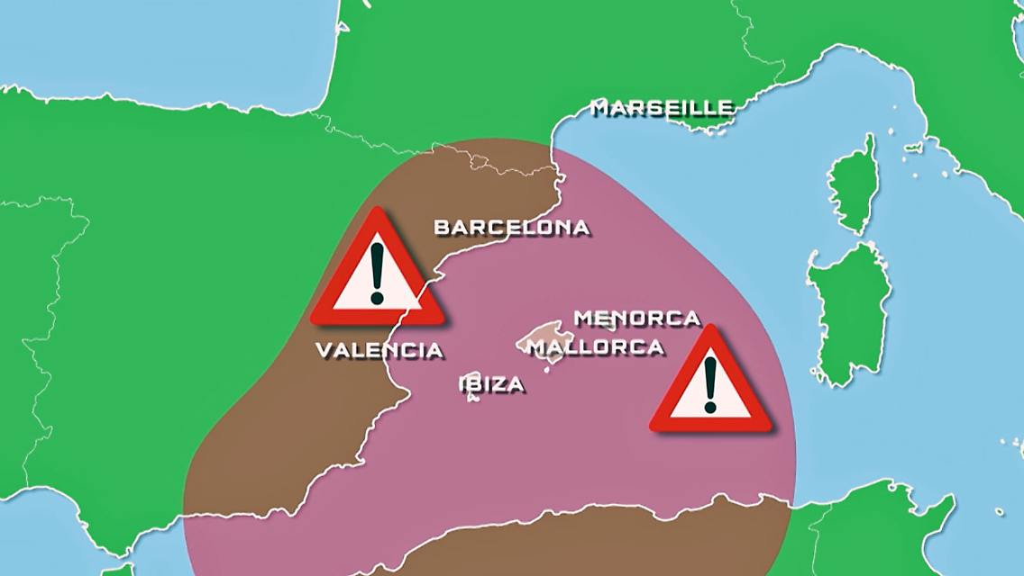 Unwetter Mallorca Karte.Unwetter Im Mittelmeer Doppel Tornado Wutet Vor Mallorca