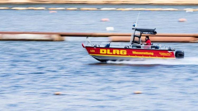 Ein Team der DLRG fährt in einem Boot. Foto:Marcel Kusch/Archivbild