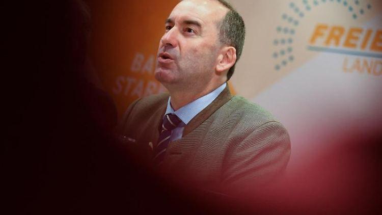 Hubert Aiwanger (Freie Wähler) schaut nach schräg oben, während er spricht. Foto: Angelika Warmuth