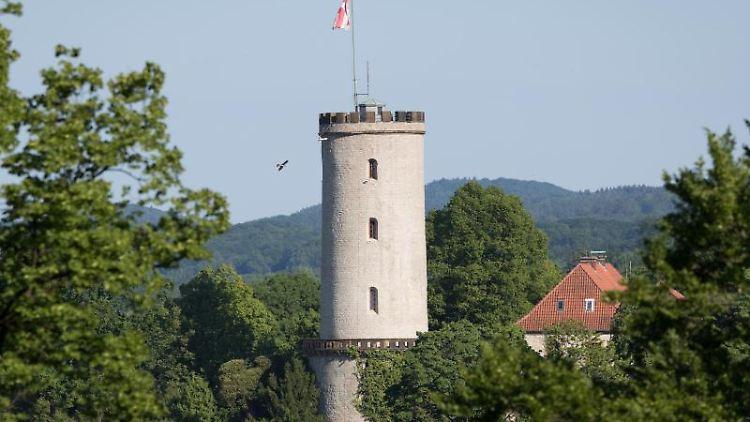 Ein Vogel fliegt am Turm der Sparrenburg vorbei. Foto: Friso Gentsch/Archivbild