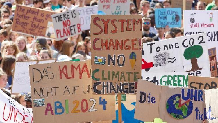 Teilnehmer der Klima-Demonstration Fridays for Future halten Plakate in die Höhe. Foto: Georg Wendt/Archivbild