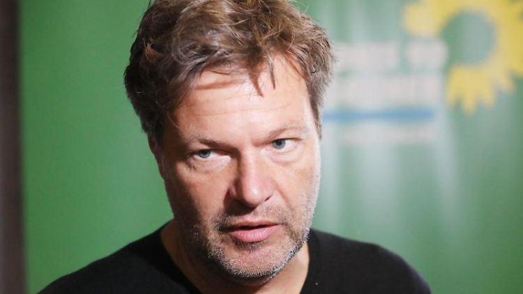 Robert Habeck (Bündnis 90/Die Grünen)steht während eines Gesprächs vor einer grünen Wand mit dem Logo der Partei. Foto: Bodo Schackow