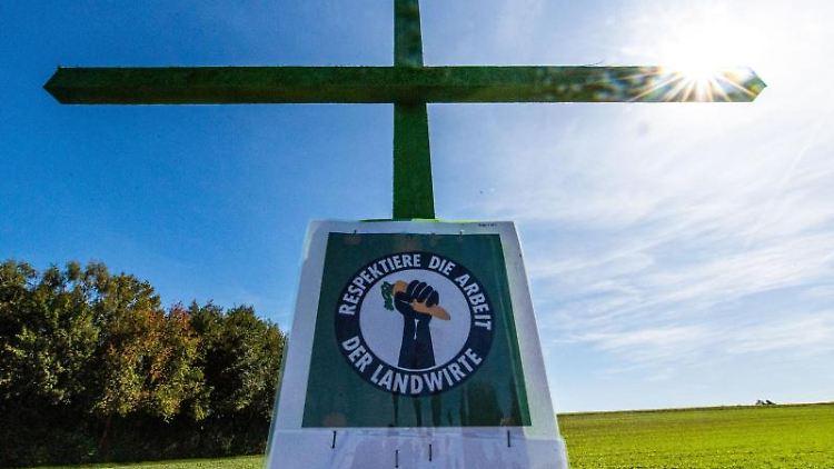 Ein grün angesprühtes Holzkreuz steht am Rande eines Feldes. Foto:Lino Mirgeler