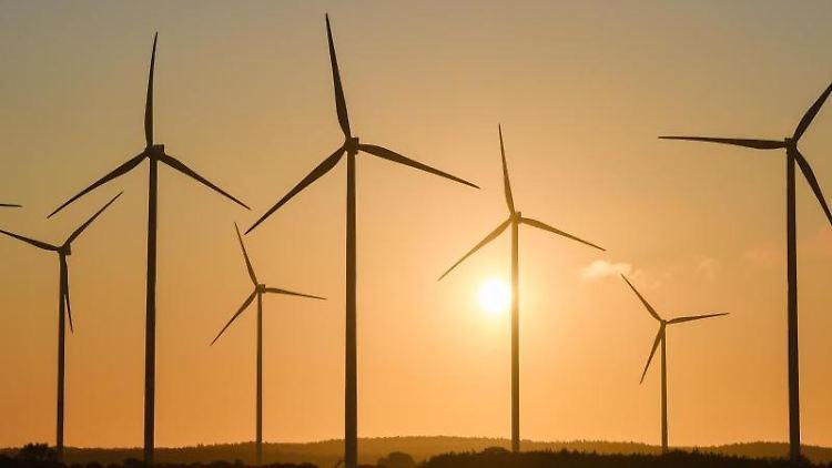 Der Sonnenaufgang leuchtet farbenprächtig hinter einem Windenergiepark. Foto:Patrick Pleul/Archiv