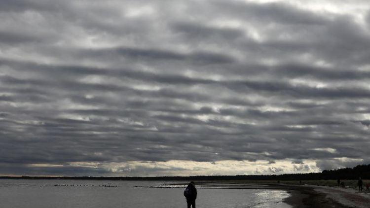 Spaziergänger gehen am Darßer Ort am Strand bei einem Wolken behangenen Himmel spazieren. F. Foto: Bernd Wüstneck/dpa-Zentralbild/dpa