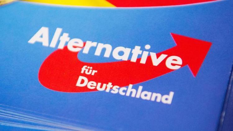 Das Logo der AfD auf einem Flyer. Foto: Christophe Gateau/dpa
