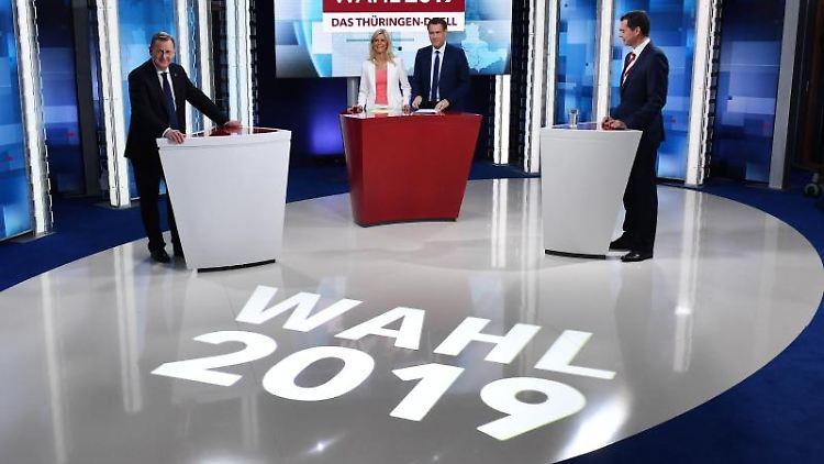 TV-Duell zur Landtagswahl Thüringen. Foto: Martin Schutt/dpa-Zentralbild/dpa