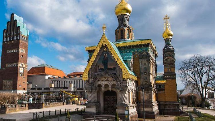 Die russische Kapelle auf der Mathildenhöhe in Darmstadt. Foto: Andreas Arnold/dpa/Archivbild